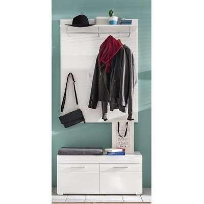 Amanda Coat Rack And Wide Shoe Bench In White High Gloss