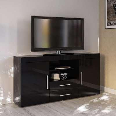 Amerax TV Sideboard In Black High Gloss With 2 Doors