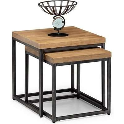 Amilia Wooden Set Of 2 Nest Tables In Solid Oak And Metal Legs