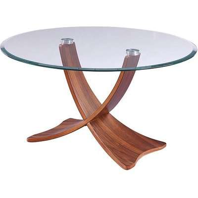 Anfossi Round Clear Glass Coffee Table With Walnut Legs