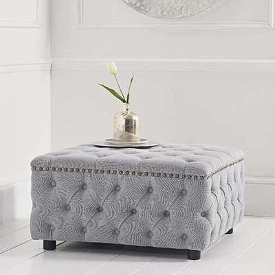 Nesta Linen Upholstered Square Footstool In Grey