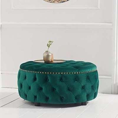 Nesta Velvet Upholstered Round Footstool In Green