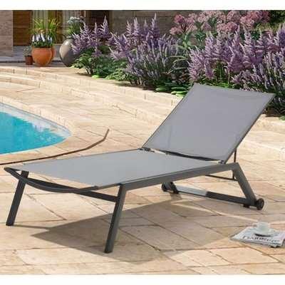 Anthurium Sun Chaise Garden Lounger In Grey
