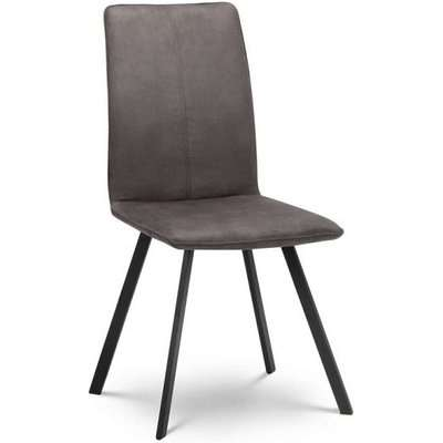 Anya Fabric Dining Chair In Charcoal Grey With Black Steel Legs