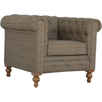 Trenton Fabric Chesterfield Armchair In Petite Multi Tweed