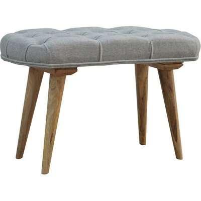 Aqua Fabric Deep Button Hallway Bench In Grey Tweed And Oak Ish