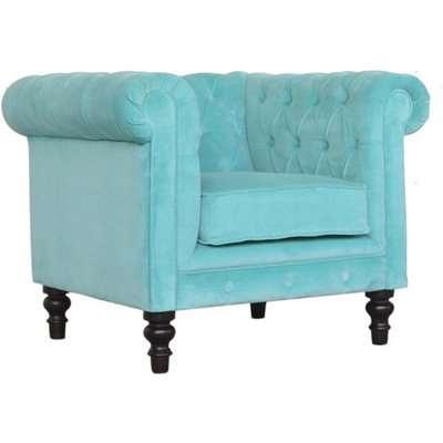 Aqua Velvet Chesterfield Armchair In Turquoise