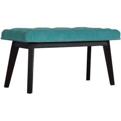 Aqua Velvet Hallway Bench In Turquoise And Walnut