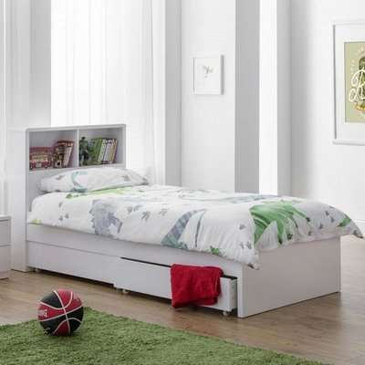 Arden Bookcase Bed In White High Gloss With Underbed Drawers