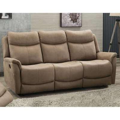 Arizones Fabric 3 Seater Electric Recliner Sofa In Caramel