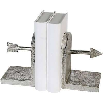 Arrow Poly Bookend Sculpture In Antique Silver And White
