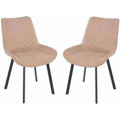 Arturo Fabric Sand Dining Chair With Metal Black Legs In Pair