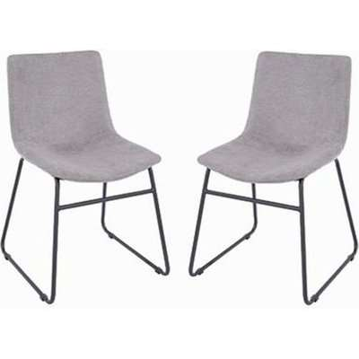 Arturo Grey Fabric Dining Chair With Black Metal Legs In Pair