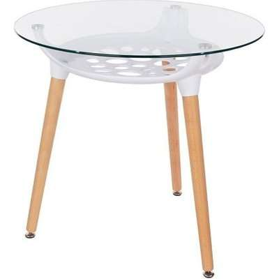 Arturo Round Glass Bistro Dining Table With Beech Finish Legs