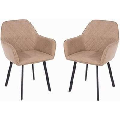 Arturo Sand Fabric Dining Chair With Metal Black Legs In Pair