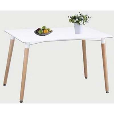 Arturo Small Bistro Dining Table In White With Beech Finish Legs