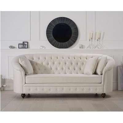 Astarik Chesterfield 3 Seater Sofa In Ivory Fabric