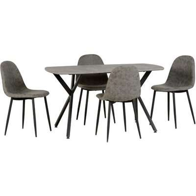 Athens Rectangular Dining Table In Concrete Effect With 4 Chair
