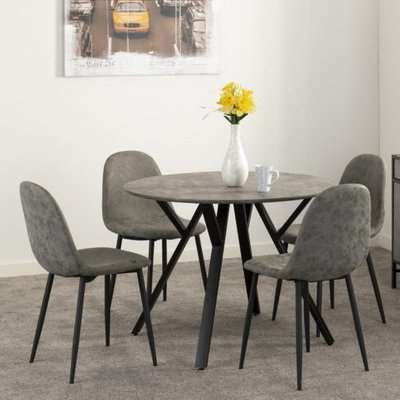 Athens Round Dining Table In Concrete Effect With 4 Chairs