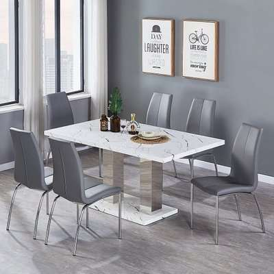 Atlanta Dining Table In Gloss Marble Effect With Steel Legs