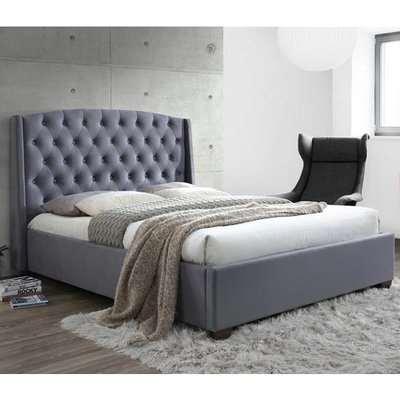 Atlas Fabric Super King Bed In Grey Velvet