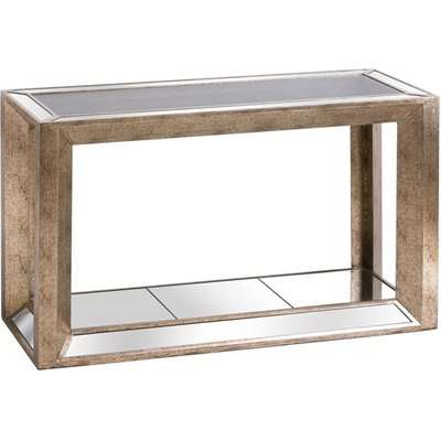 Augsta Mirrored Console Table With Shelf In Antique Gold