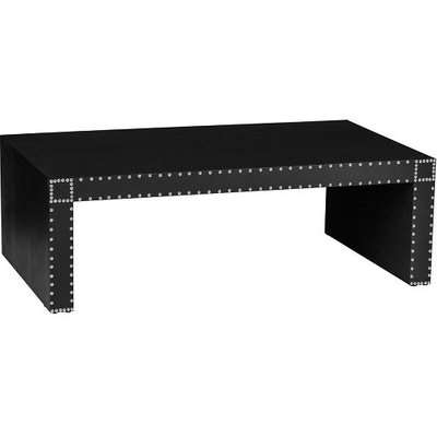 Aurich Coffee Table In Black Leather Effect With Stud Details
