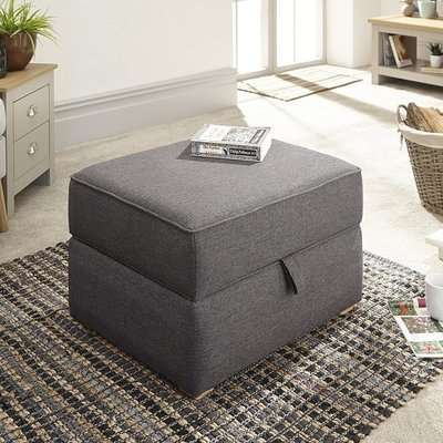 Barkley Fabric Storage Footstool Square In Hopsack Grey