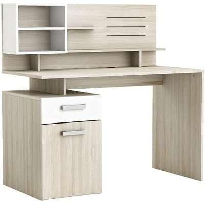 Barrington Wooden Computer Desk In Shannon Oak And Pearl White