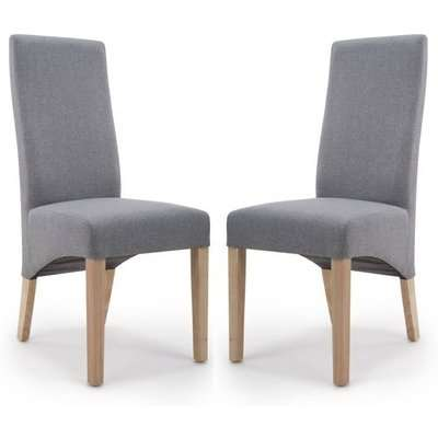 Baxter Steel Grey Linen Wave Back Dining Chair In A Pair