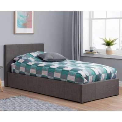 Berlin Fabric Ottoman Single Bed In Grey
