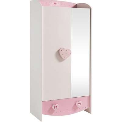 Betsy Wooden Wardrobe In White And Pink With 2 Doors
