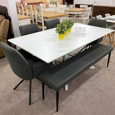 Bianco Extending Dining Table Set With 4 Chairs And Darcy Bench