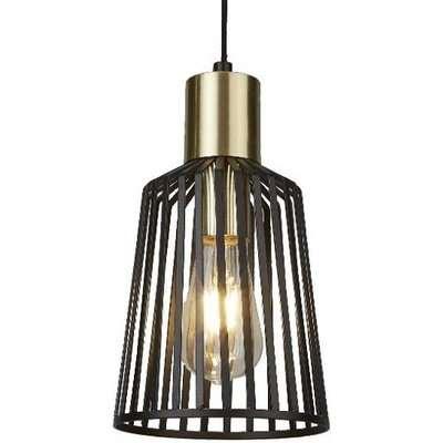 Bird Cage Pendant Lamp In Black And Satin Brass Design