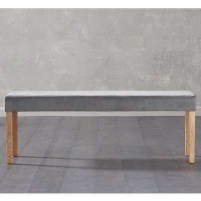 Birlane Dining Bench Large In Grey Plush Velvet With Oak Legs