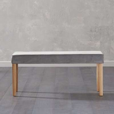 Birlane Dining Bench Small In Grey Plush Velvet And Oak Legs