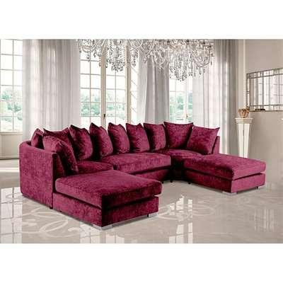 Boise U-Shape Chenille Fabric Corner Sofa In Aubergine