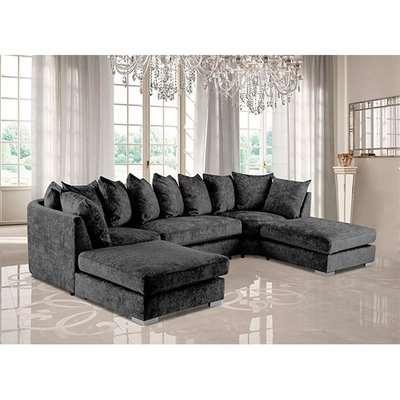 Boise U-Shape Chenille Fabric Corner Sofa In Charcoal