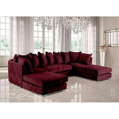 Boise U-Shape Chenille Fabric Corner Sofa In Mulberry