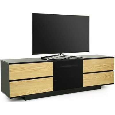 Boone Ultra TV Stand In Black Gloss With Oak Gloss Drawers