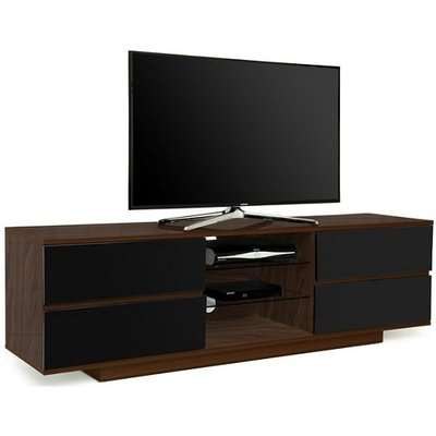 Boone Wooden TV Stand In Walnut With Black Gloss Drawers