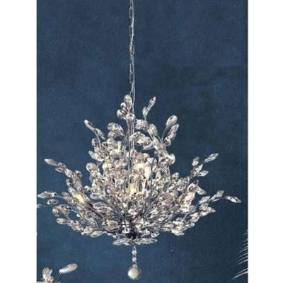 Bouquet Wall Hung 7 Pendant Light In Chrome With Crystal Glass