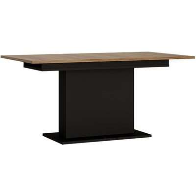 Brecon Wooden Extending Dining Table In Walnut And Black