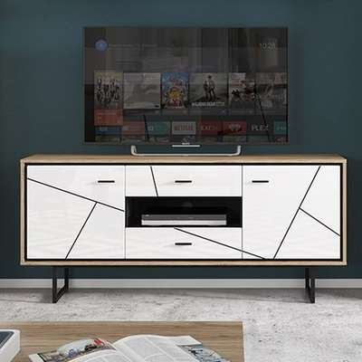Brecon Wooden TV Sideboard In Walnut And White High Gloss
