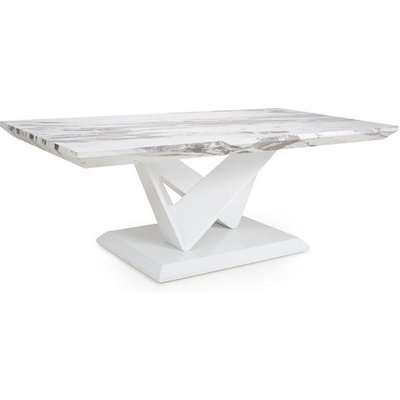 Brezza Gloss Marble Effect Coffee Table With White Leg Frame
