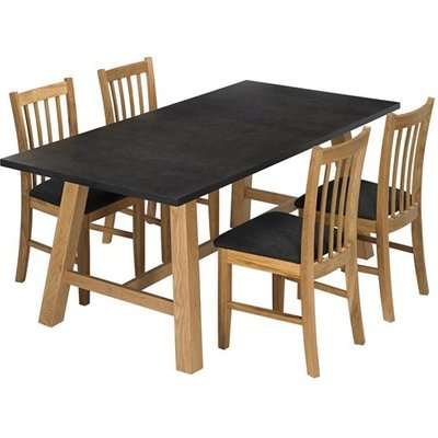 Brooklyn Wooden Dining Table In Faux Concrete