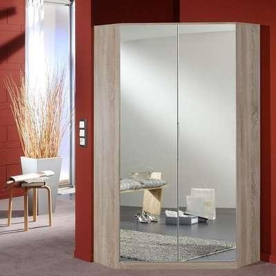 Bruce Mirrored Corner Wardrobe In Oak Effect With 2 Doors