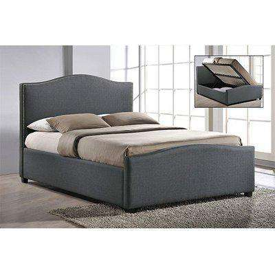 Brunswick Fabric Storage Ottoman Double Bed In Grey