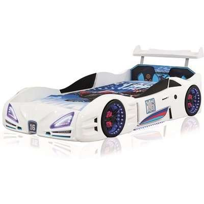 Buggati Veron Childrens Car Bed In Pink With Spoiler And LED