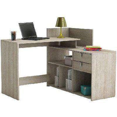 Bylan Corner Computer Desk In Shannon Oak With Storage